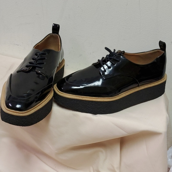 Zara Black Patent Oxford Shoes